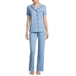 Liz Claiborne - Short-Sleeve Shirt and Pants Knit Pajama Set