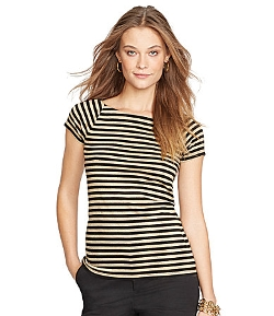 Lauren Ralph - Metallic-Striped Ballet-Neck Shirt