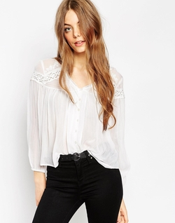 Asos  - Lace Insert V Neck Blouse