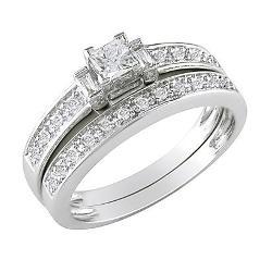 Target - 10K White Gold Diamond Bridal Set Silver