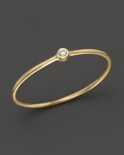 Zoe Chicco  - 14K Yellow Gold Thin Band Ring With Diamond