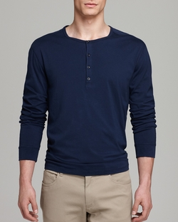 Vince - Jersey Long Sleeve Henley Shirt