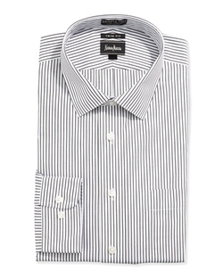 Neiman Marcus  - Trim-Fit Non-Iron Striped Dress Shirt