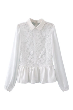 Romwe -  Lace Flora Panel Pleated Zippered White