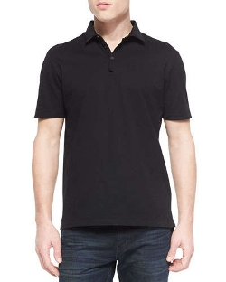Lanvin	  - Grosgrain-Collar Short-Sleeve Polo