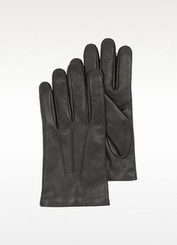 Forzieri - Black Leather Handmade Gloves