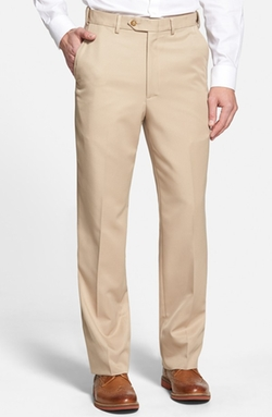 Berle  - Self Sizer Waist Flat Front Trousers