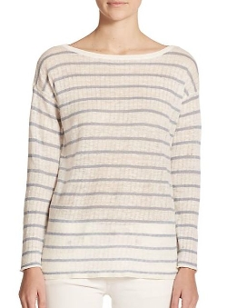 Polo Ralph Lauren  - Striped Pointelle-Linen Sweater