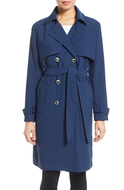 Laundry by Shelli Segal  - Belted Crepe Long Trench Coat