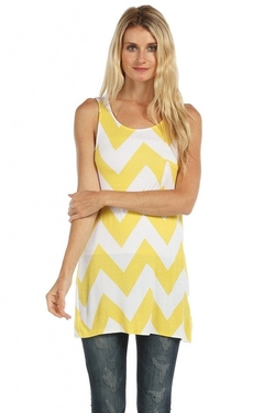 ColorMC  - Chevron Print Tunic Tank Top With Pocket Detail