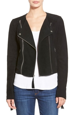 Paige Denim - Tiana Suede Crop Moto Jacket