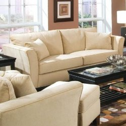 Coaster Home Furnishings - Coaster Sofa Couch, Velvet Fabric, Cream