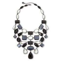 Liz Claiborne  - Hematite Multicolor Stone Drama Bib Necklace
