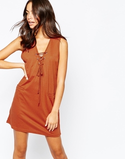 Daisy Street  - Jersey Dress with Lace Up Neck and Pocket Detail