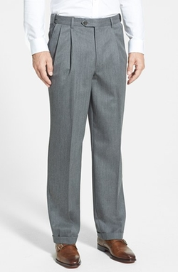 Berle  - Self Sizer Waist Pleated Wool Gabardine Trousers