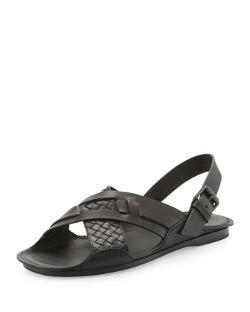 Bottega Veneta  - Woven Leather Crisscross Sandal