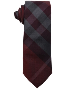 Burberry - Wine Red Striped Print Silk