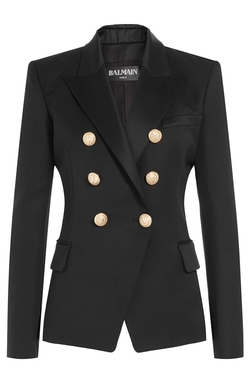 Balmain - Wool Blazer With Embossed Buttons