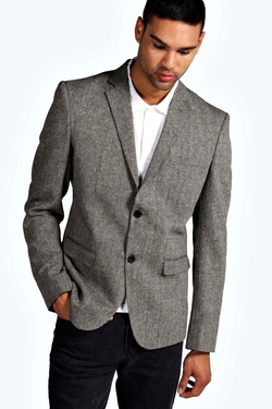 Boohooman Night  - Slim Fit Tweed Blazer