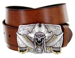 Belts.com  - Pirate Buckle Jolly Roger Mens Casual Jean Belt Cowhide Leather Strap