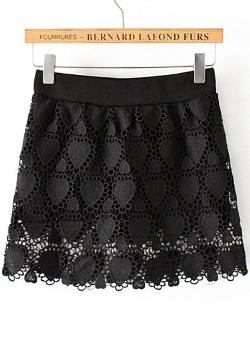Romwe - Lace Crochet Wraped Black Skirt
