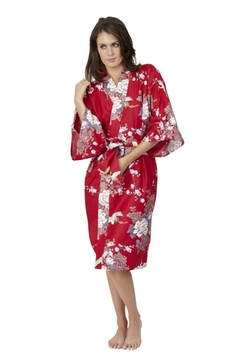 Beautiful Robes - Flying Crane & Peony Cotton Kimono Robe