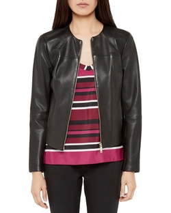 Ted Baker - Alam Collarless Leather Jacket