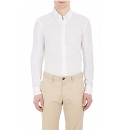 Salvatore Piccolo  - Textured Linen Button-Down Shirt