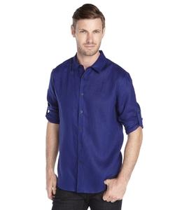 Elie Tahari - Deep Blue Linen Long Sleeve Button Down Shirt