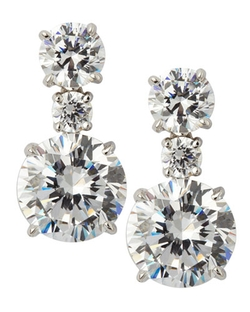 Fantasia - Round Graduated Drop CZ Earrings