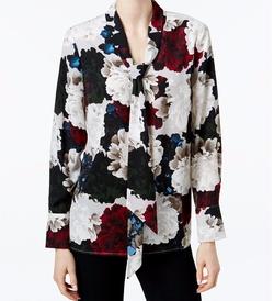 Charter Club  - Floral-Print Tie-Neck Blouse