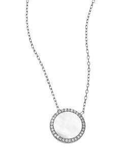 SKU Jewelry  - CZ and Opal Circle Pendant Necklace
