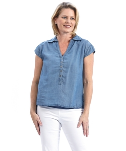 Miraclebody  - Chambray Cap Sleeve Top