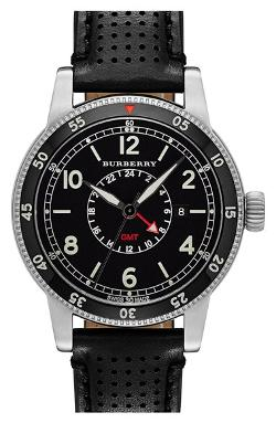 Burberry - Utilitarian Round Perforated Leather Strap Watch