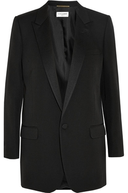 Saint Laurent - Satin-Trimmed Wool Blazer