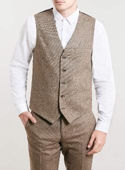 Topman - Premium Camel Textured Suit Waistcoat