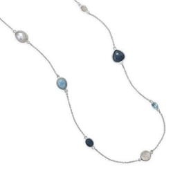 AzureBella Jewelry - Aquamarine And Rainbow Moonstone Necklace