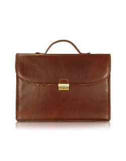 Chiarugi - Handmade Brown Leather Single Gusset Briefcase