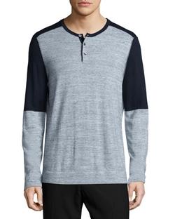 Vince - Colorblock Long-Sleeve Henley Shirt