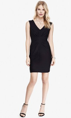 Express - V-Neck Ruched Raised Rib Dress