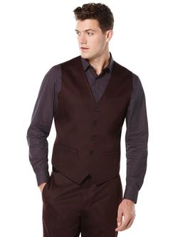 Perry Ellis International - Solid Satin 5 Button Suit Vest