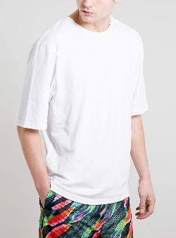 Topman - WHITE 3/4 BOXY T-SHIRT