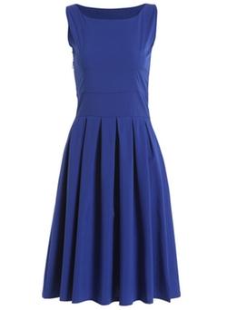Romwe - Square Neck Sleeveless Pleated Blue Dress