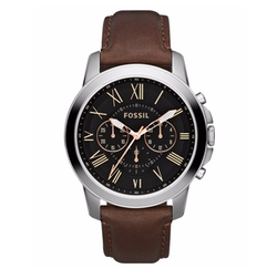 Fossil - Grant Leather Strap Chronograph Watch