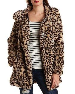 Charlotte Russe - Leopard Print Faux Fur Coat