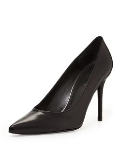 Stuart Weitzman - Flirt Leather Point-Toe Pump, Black