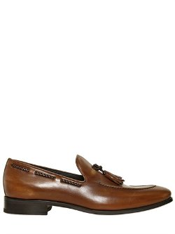 Bruno Magli  - Hand Brushed Tasseled Leather Loafers