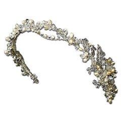 Melissa Kay Collection  - Silver-Tone Crystals Simulated Pearl Vine Wedding Bridal Headband Tiara