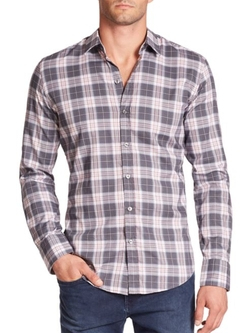Hugo Boss  - Robbie Slim Fit Plaid Woven Sportshirt