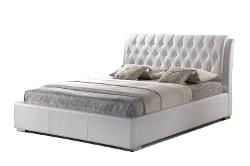 Baxton Studio - Bianca White Modern Bed with Tufted Headboard